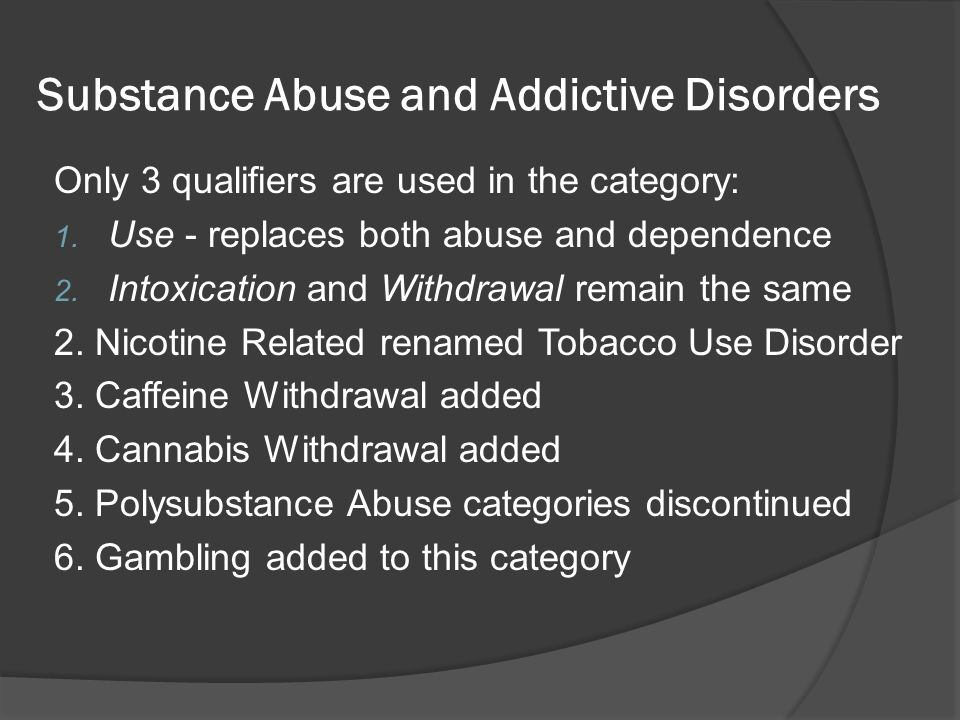 Substance Abuse and Addictive Disorders
