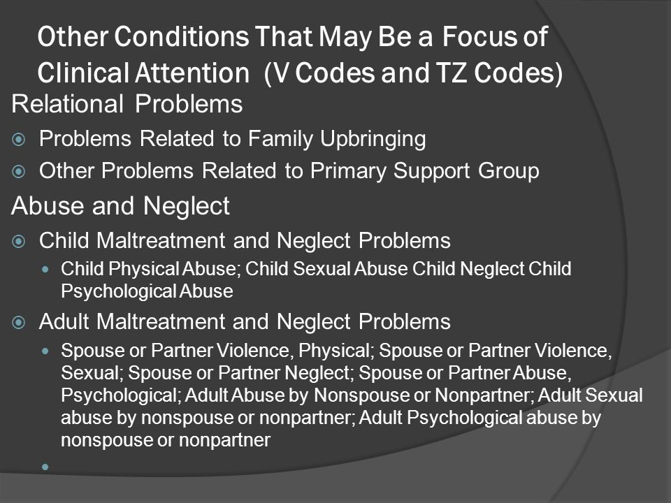 Other Conditions That May Be a Focus of Clinical Attention (V Codes and TZ Codes)