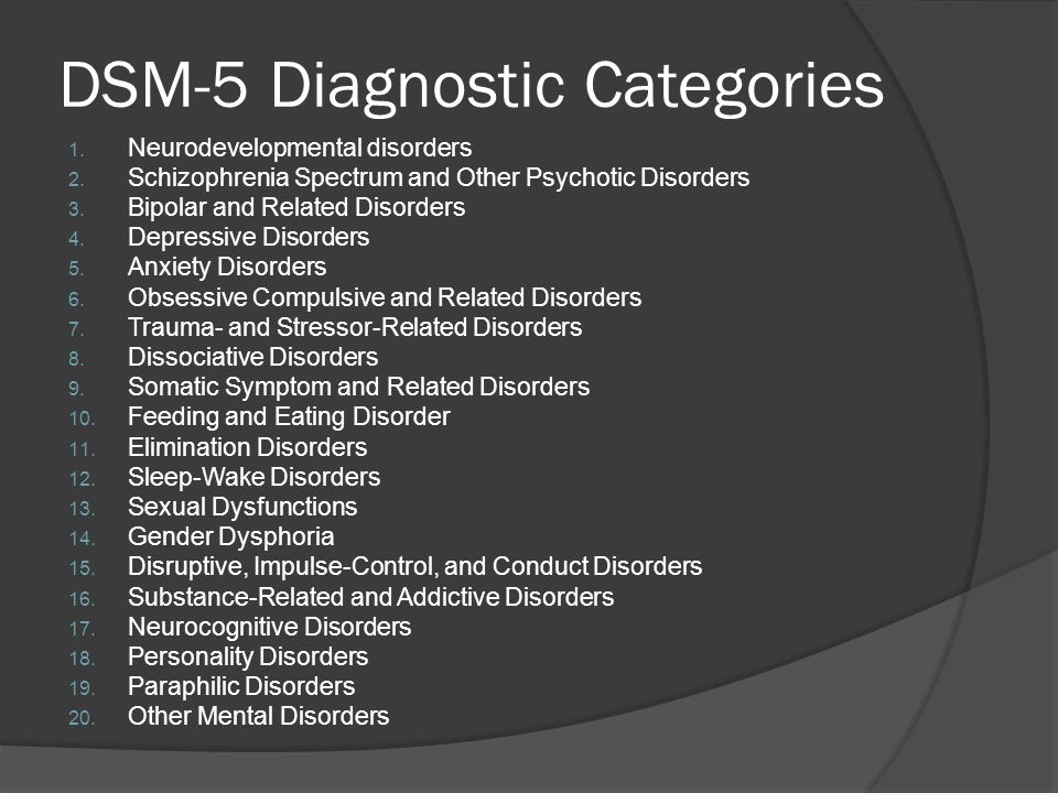DSM-5 Diagnostic Categories