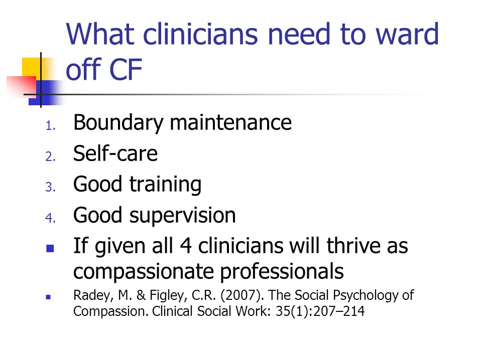 What clinicians need to ward off CF