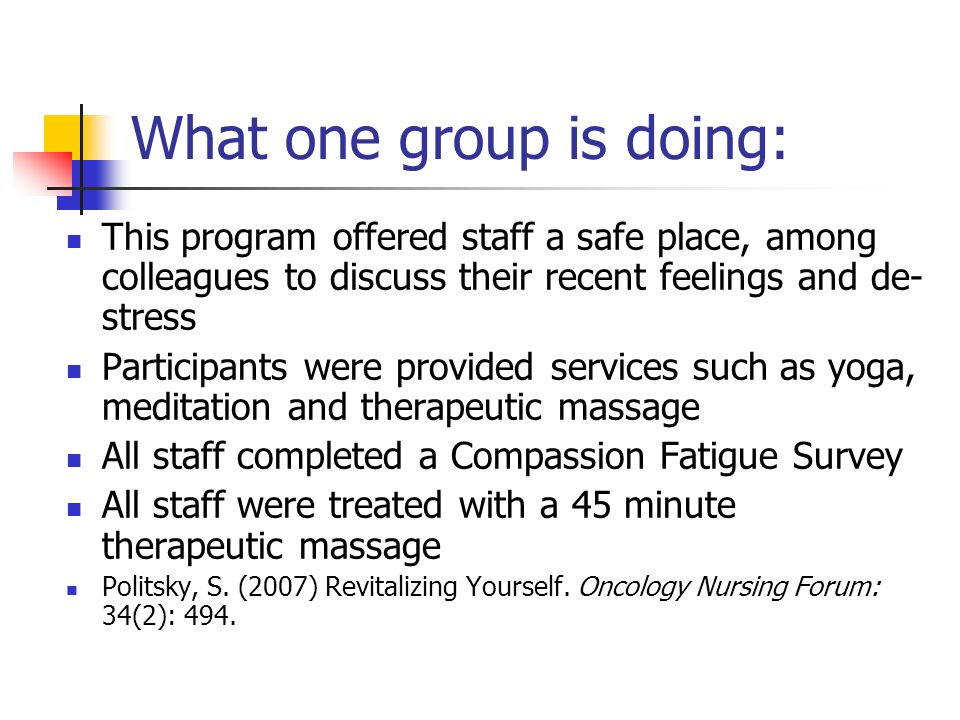 What one group is doing: