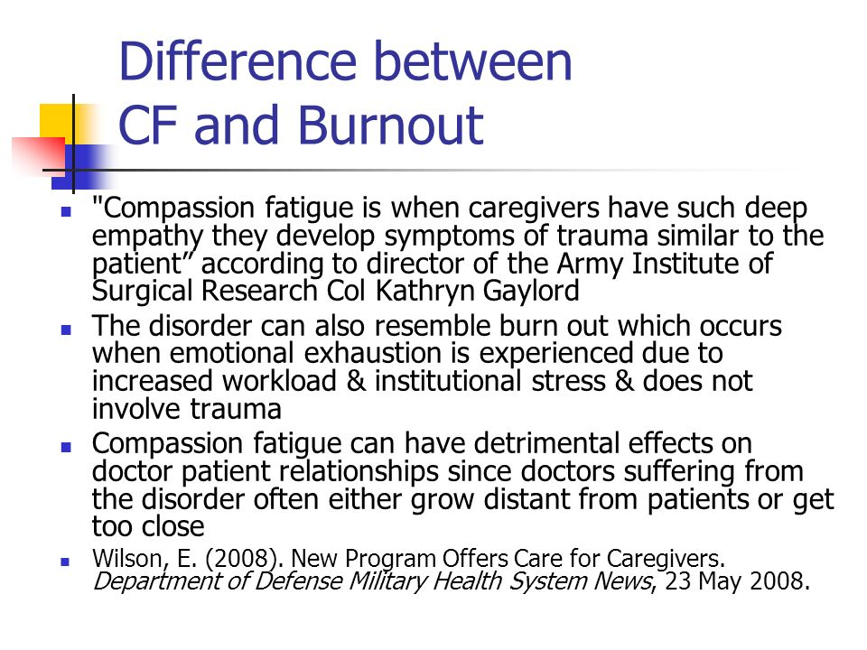 Difference between CF and Burnout
