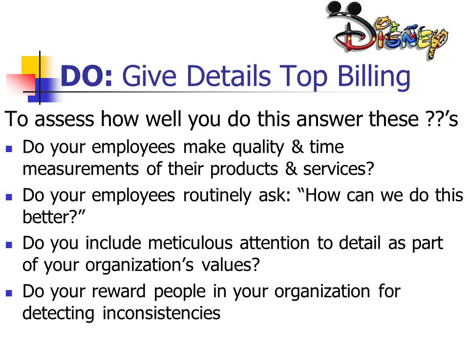 DO: Give Details Top Billing