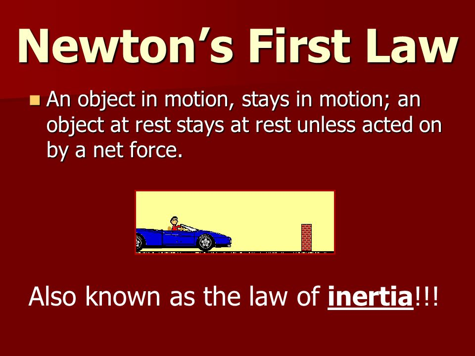 Newton's First Law Also known as the law of inertia!!!