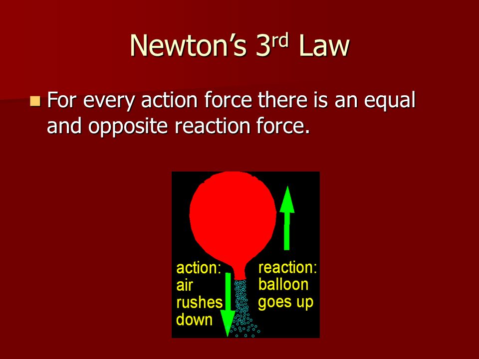Newton's 3rd Law For every action force there is an equal and opposite reaction force.