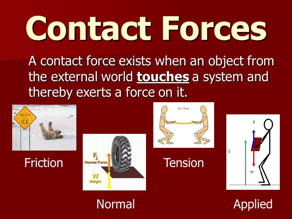 Contact Forces A contact force exists when an object from the external world touches a system and thereby exerts a force on it.