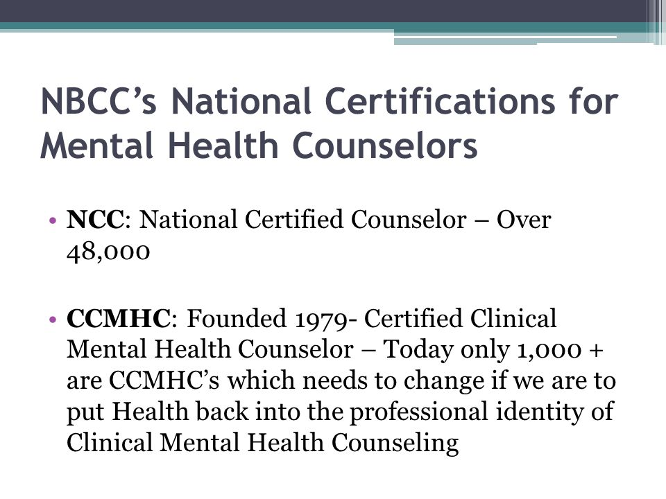 NBCC's National Certifications for Mental Health Counselors