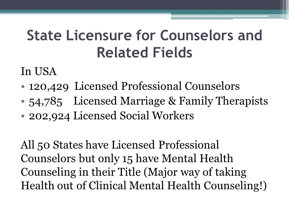 State Licensure for Counselors and Related Fields