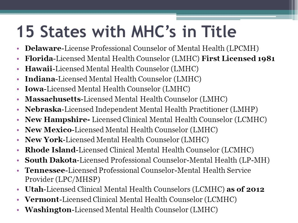 15 States with MHC's in Title