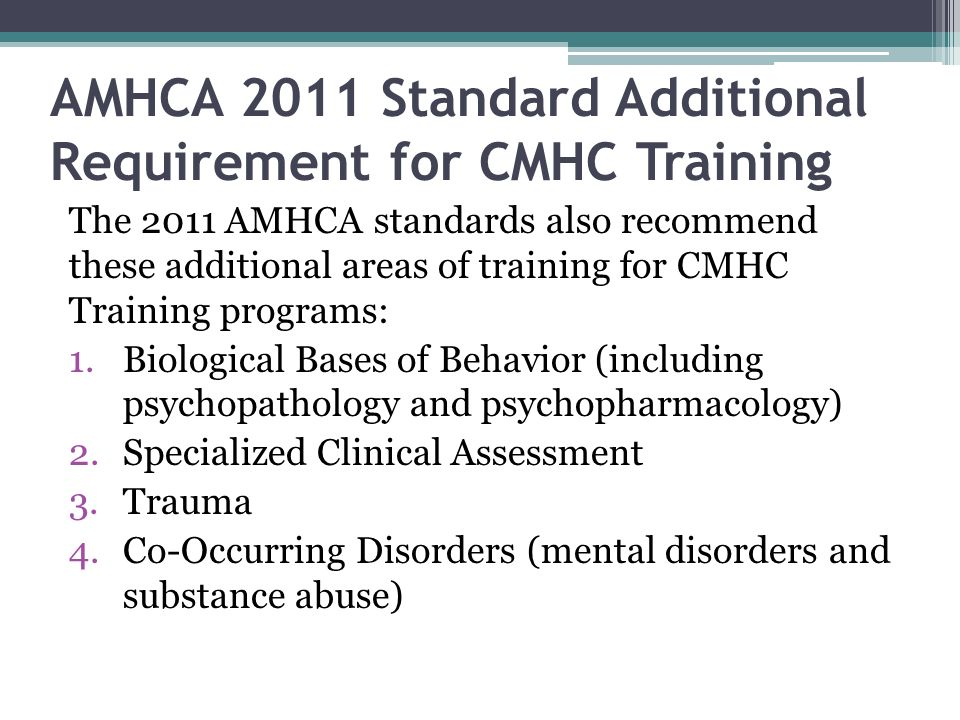 AMHCA 2011 Standard Additional Requirement for CMHC Training