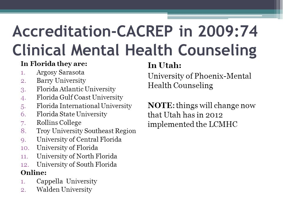 Accreditation-CACREP in 2009:74 Clinical Mental Health Counseling