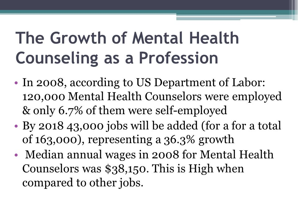 The Growth of Mental Health Counseling as a Profession