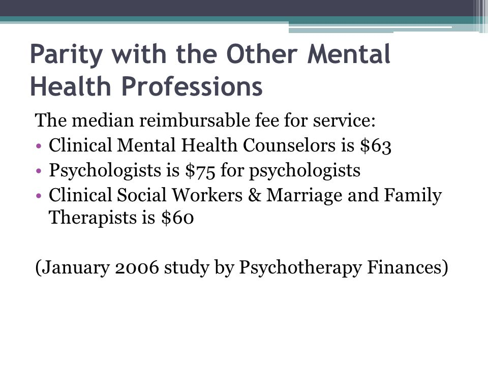 Parity with the Other Mental Health Professions