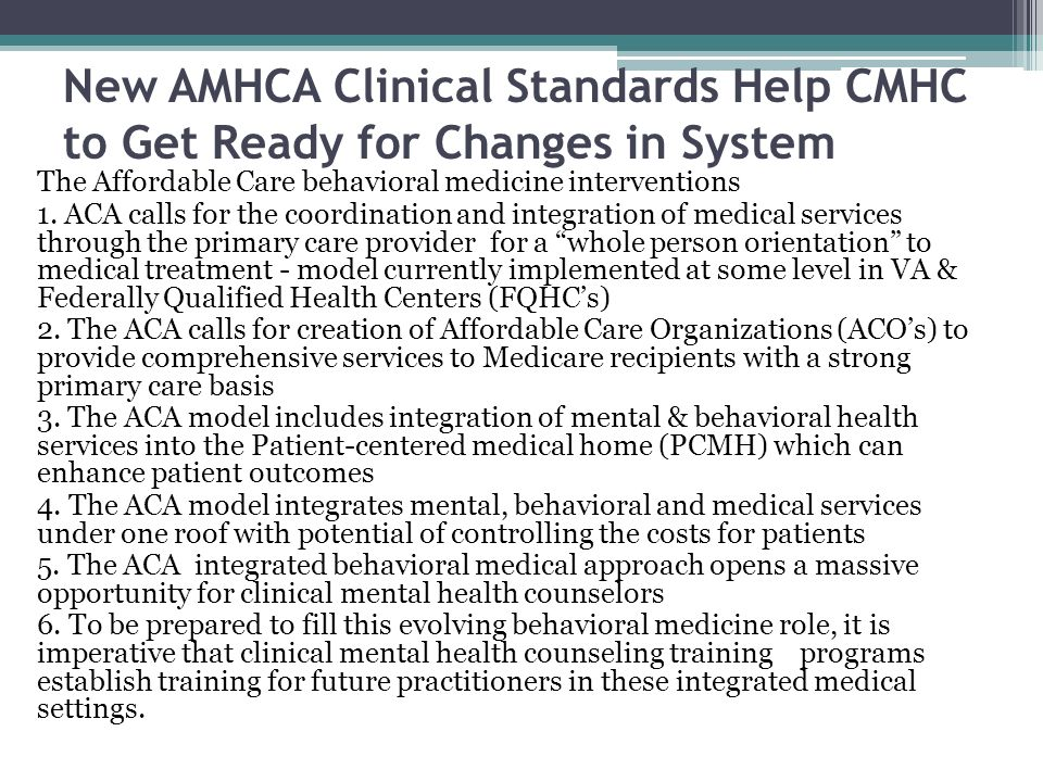 New AMHCA Clinical Standards Help CMHC to Get Ready for Changes in System