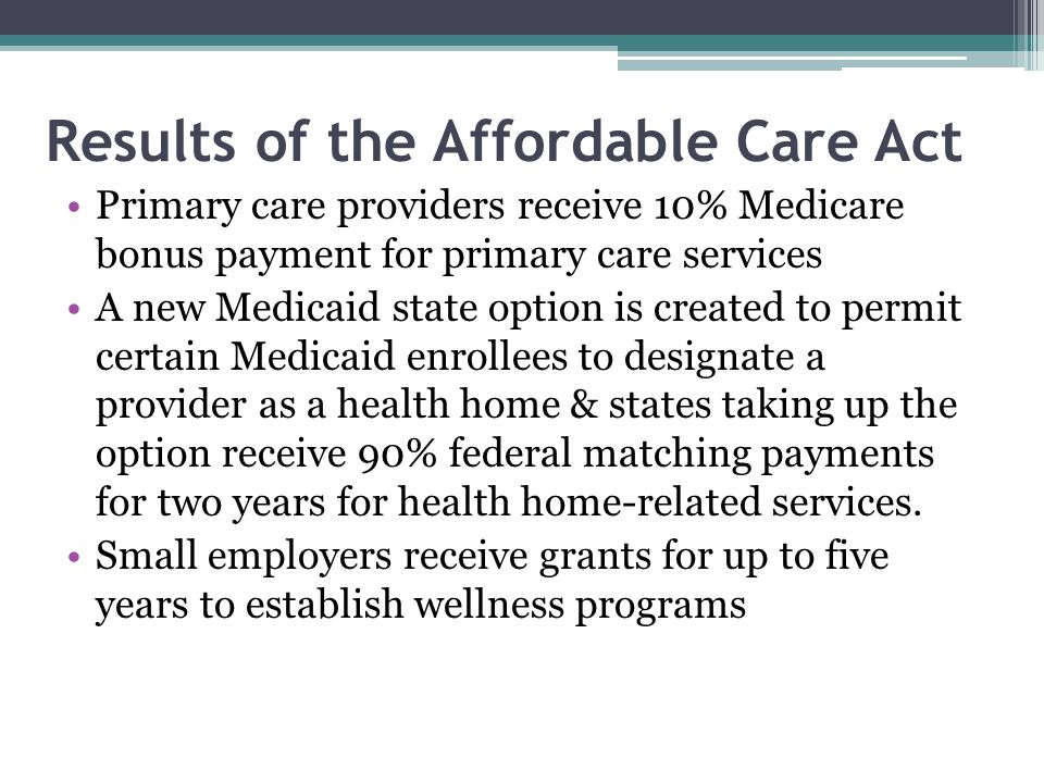 Results of the Affordable Care Act