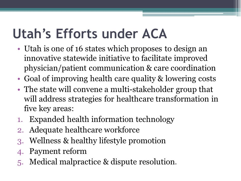 Utah's Efforts under ACA