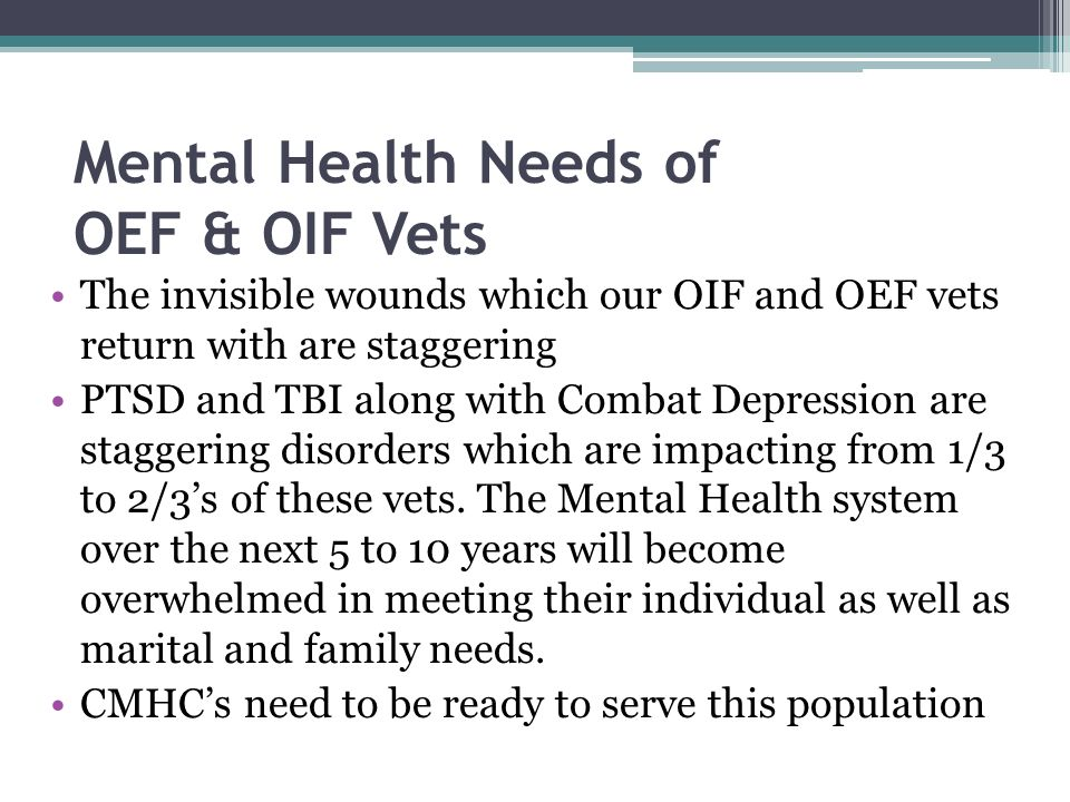 Mental Health Needs of OEF & OIF Vets