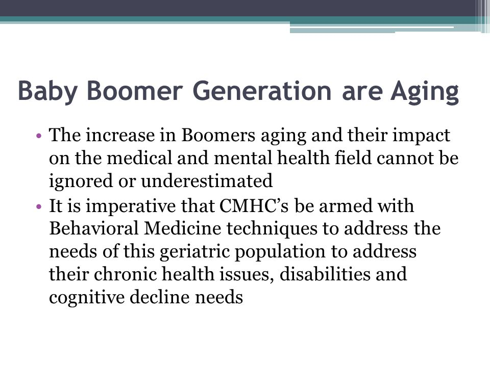 Baby Boomer Generation are Aging