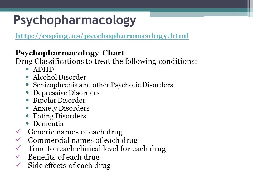 Psychopharmacology http://coping.us/psychopharmacology.html