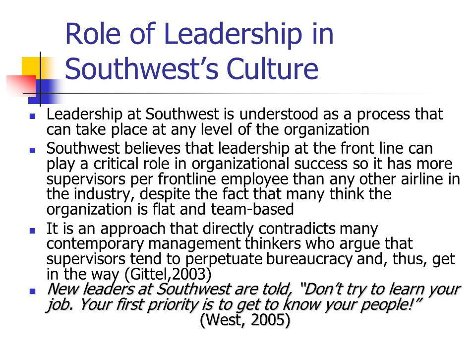 Role of Leadership in Southwest's Culture