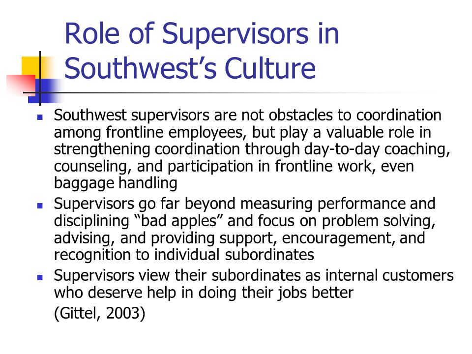 Role of Supervisors in Southwest's Culture