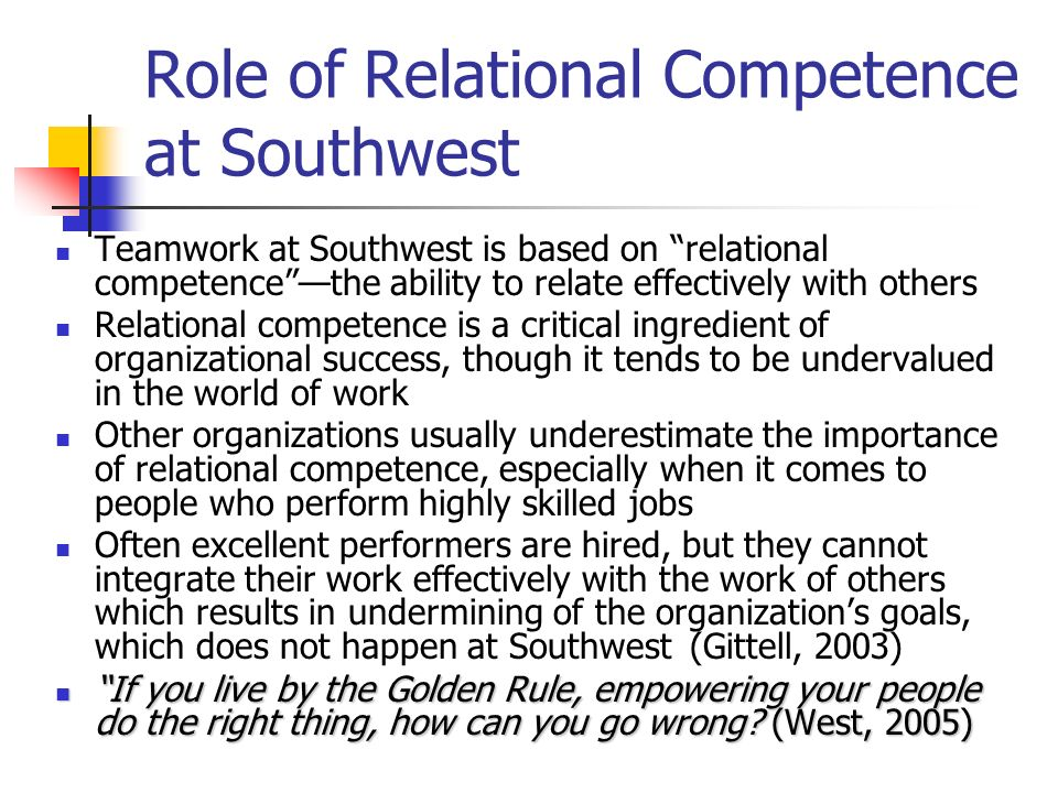 Role of Relational Competence at Southwest