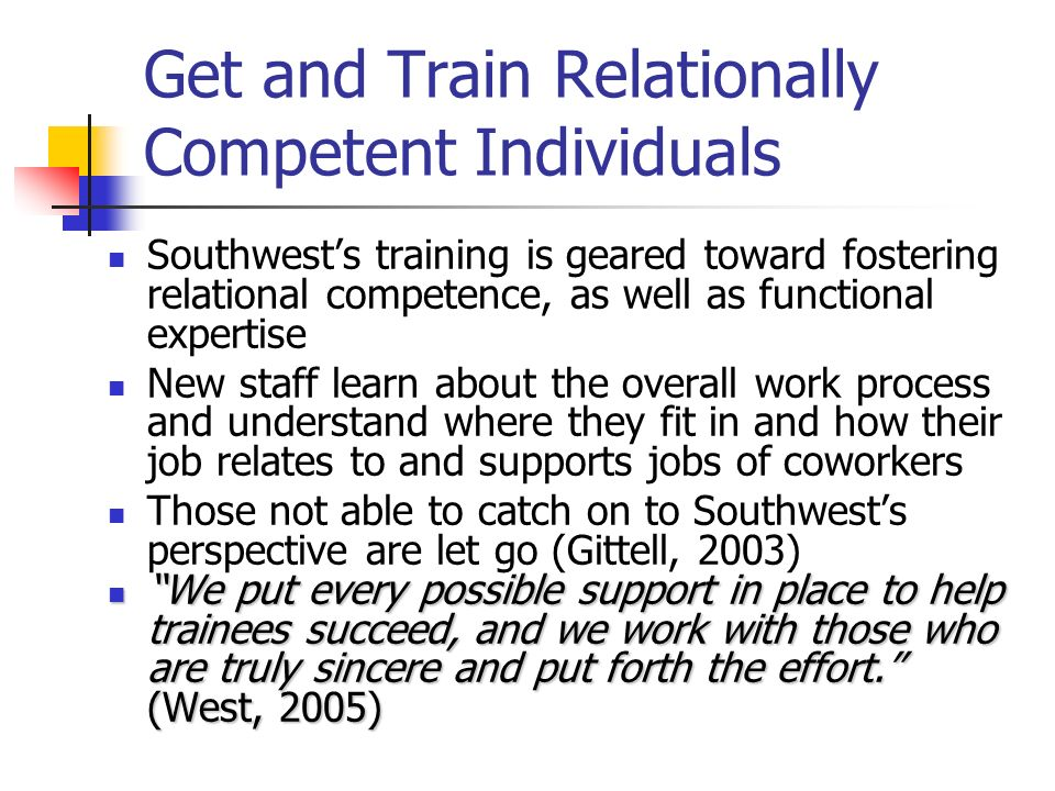 Get and Train Relationally Competent Individuals
