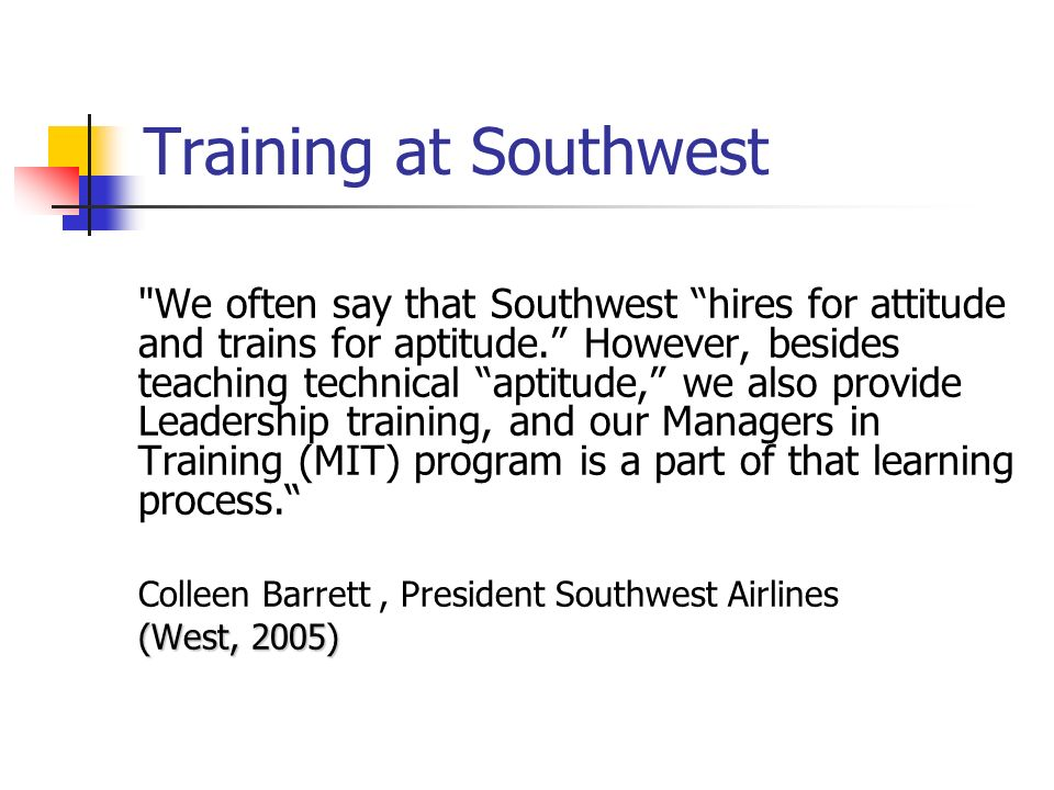 Training at Southwest