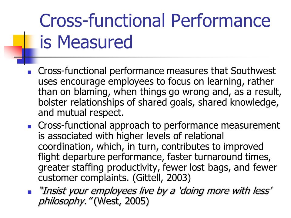 Cross-functional Performance is Measured