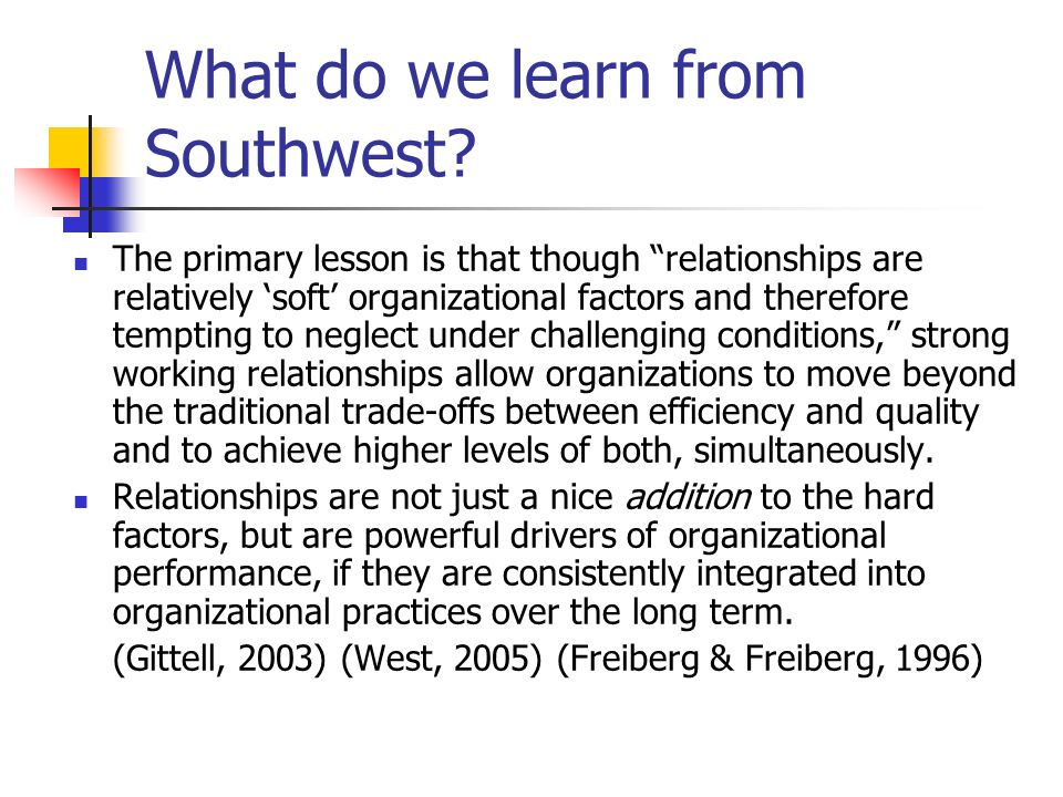 What do we learn from Southwest