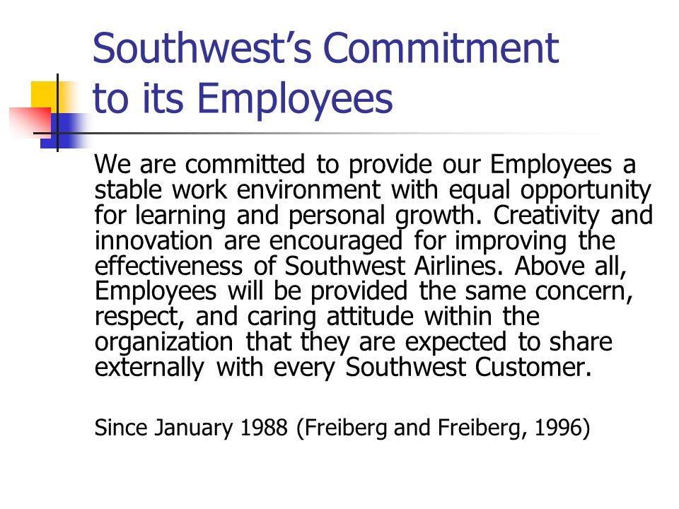 Southwest's Commitment to its Employees