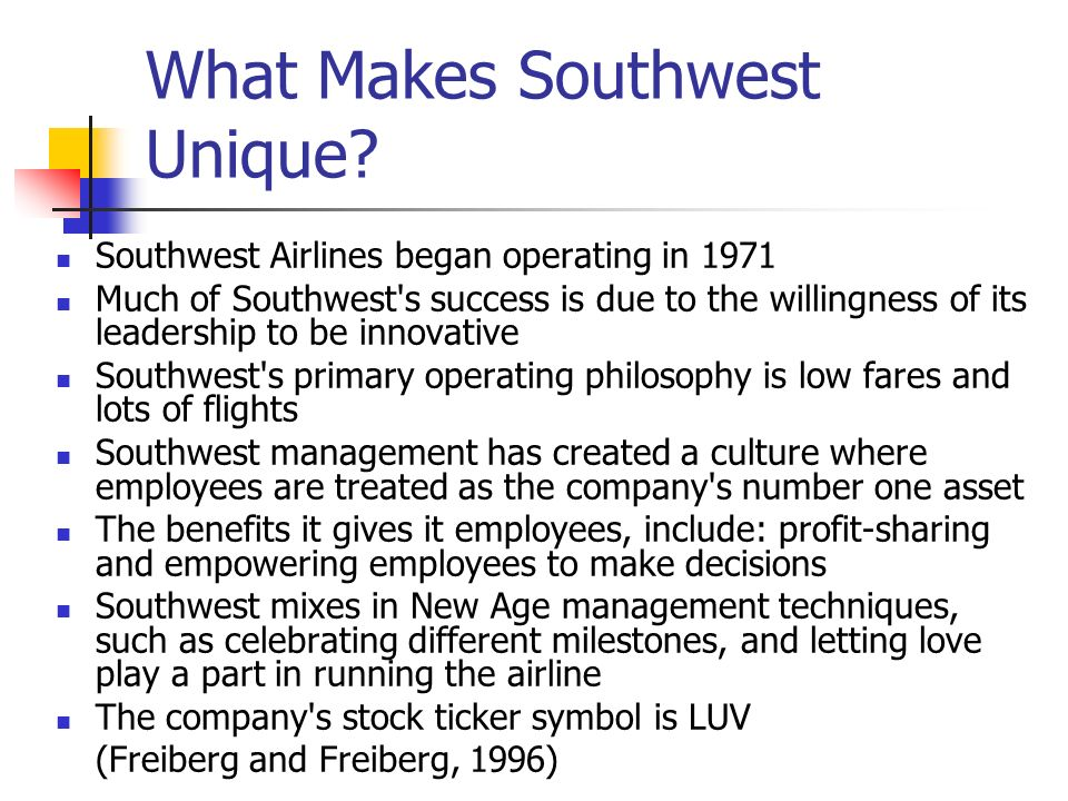 What Makes Southwest Unique