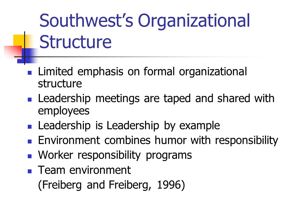 Southwest's Organizational Structure