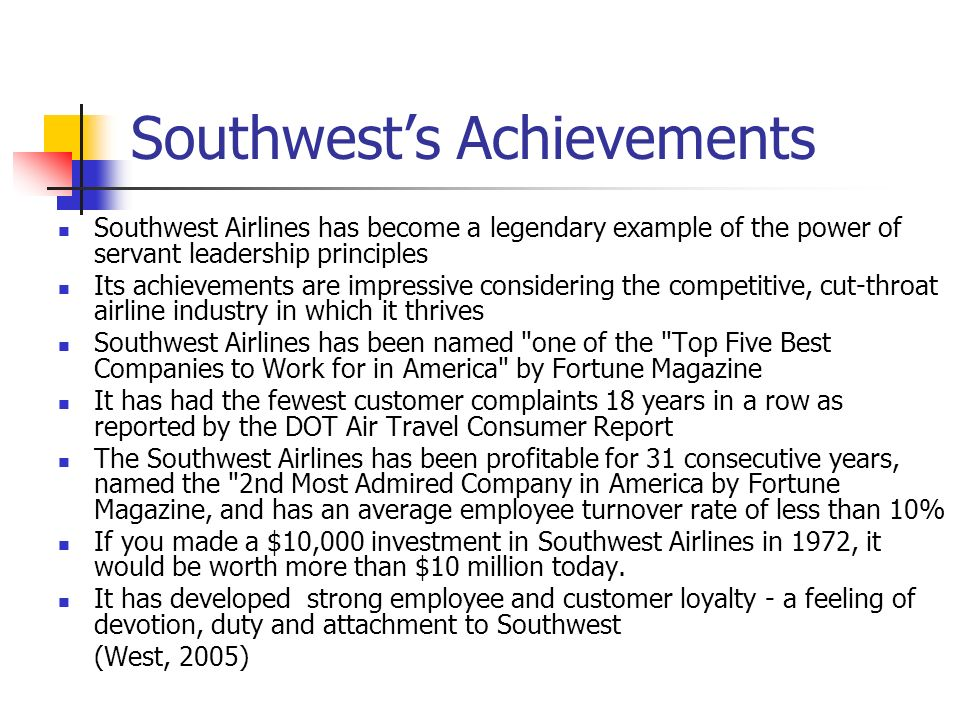 Southwest's Achievements
