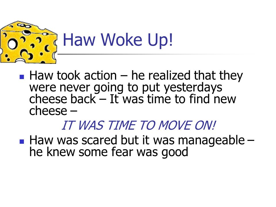 Haw Woke Up! Haw took action – he realized that they were never going to put yesterdays cheese back – It was time to find new cheese –