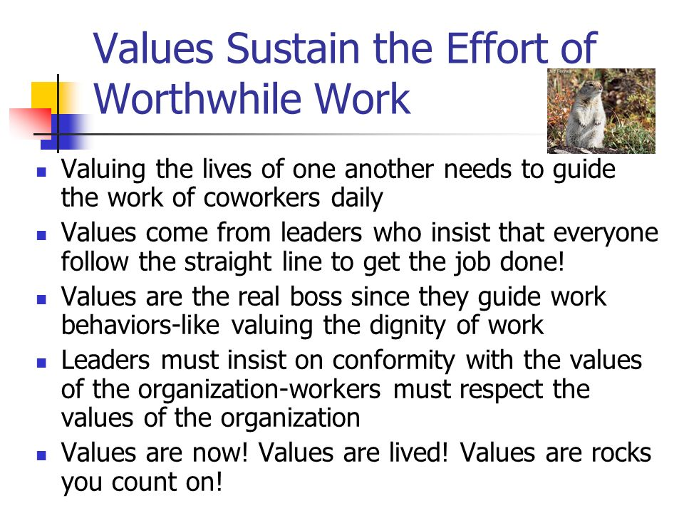 Values Sustain the Effort of Worthwhile Work