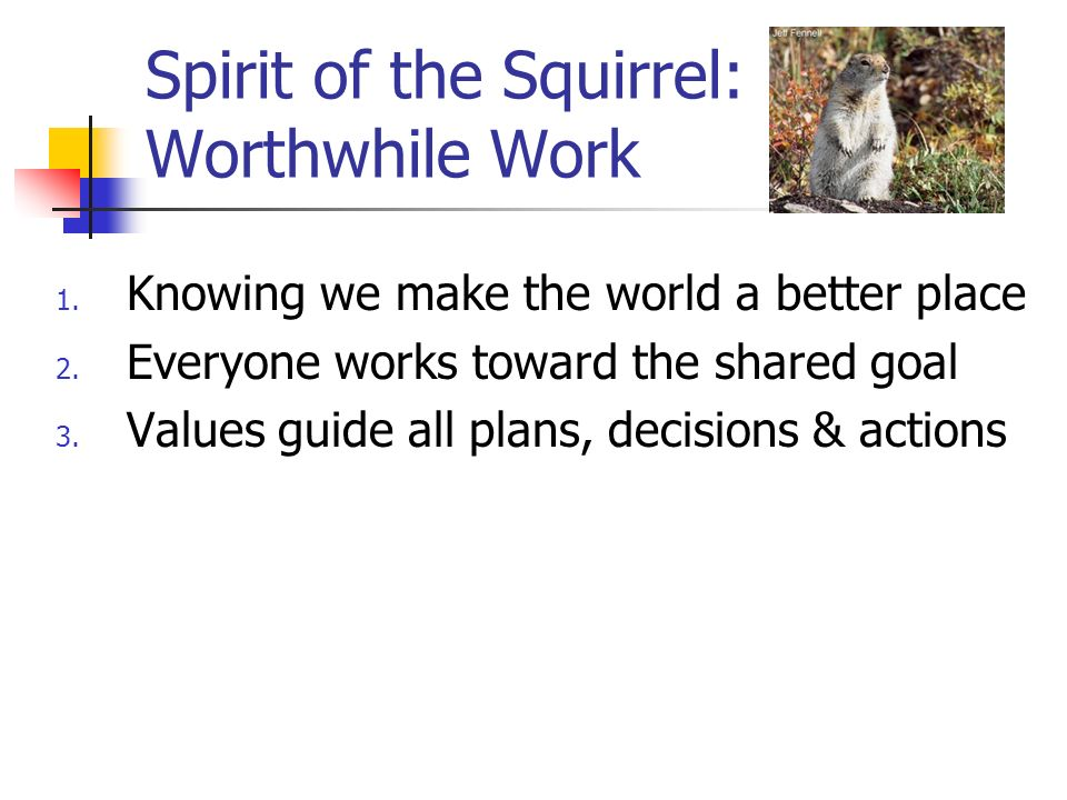 Spirit of the Squirrel: Worthwhile Work