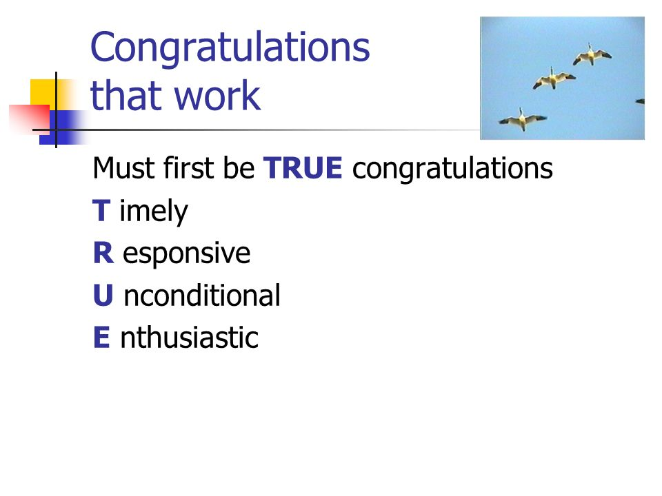 Congratulations that work