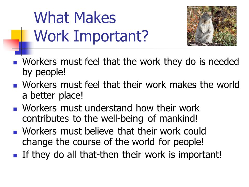 What Makes Work Important
