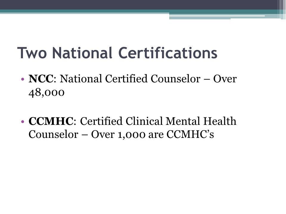Two National Certifications