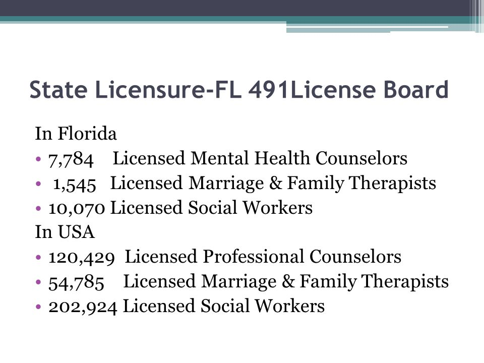 State Licensure-FL 491License Board