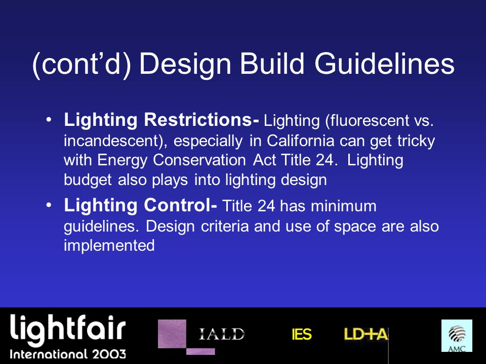 (cont'd) Design Build Guidelines