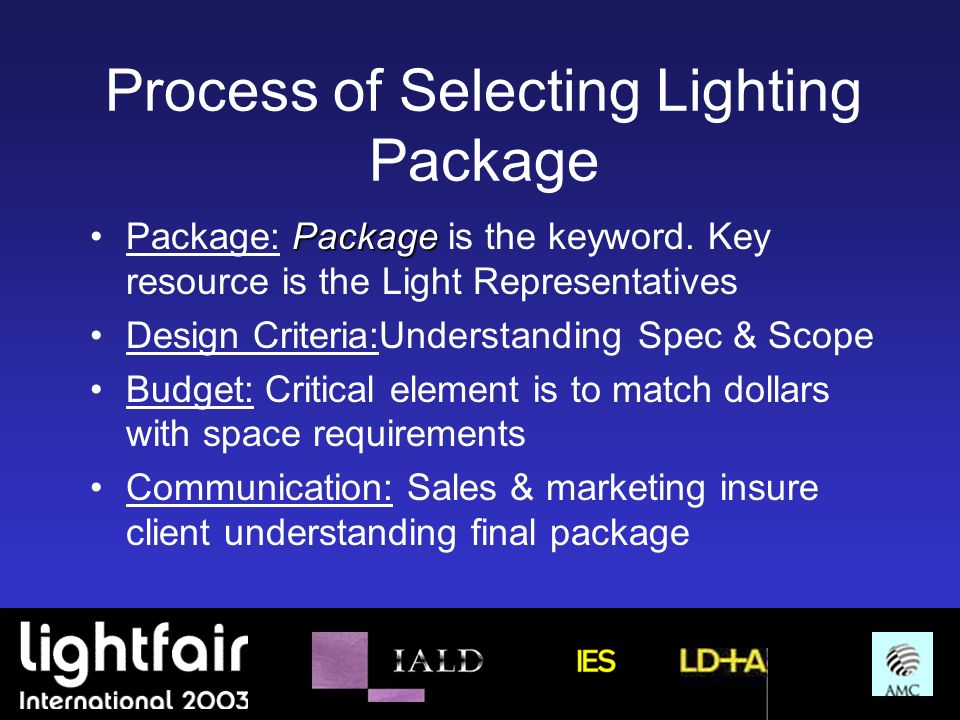 Process of Selecting Lighting Package