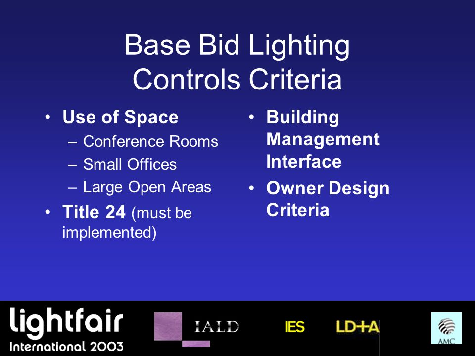 Base Bid Lighting Controls Criteria