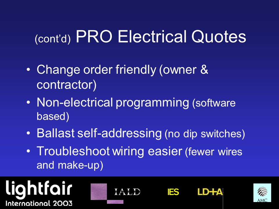 (cont'd) PRO Electrical Quotes