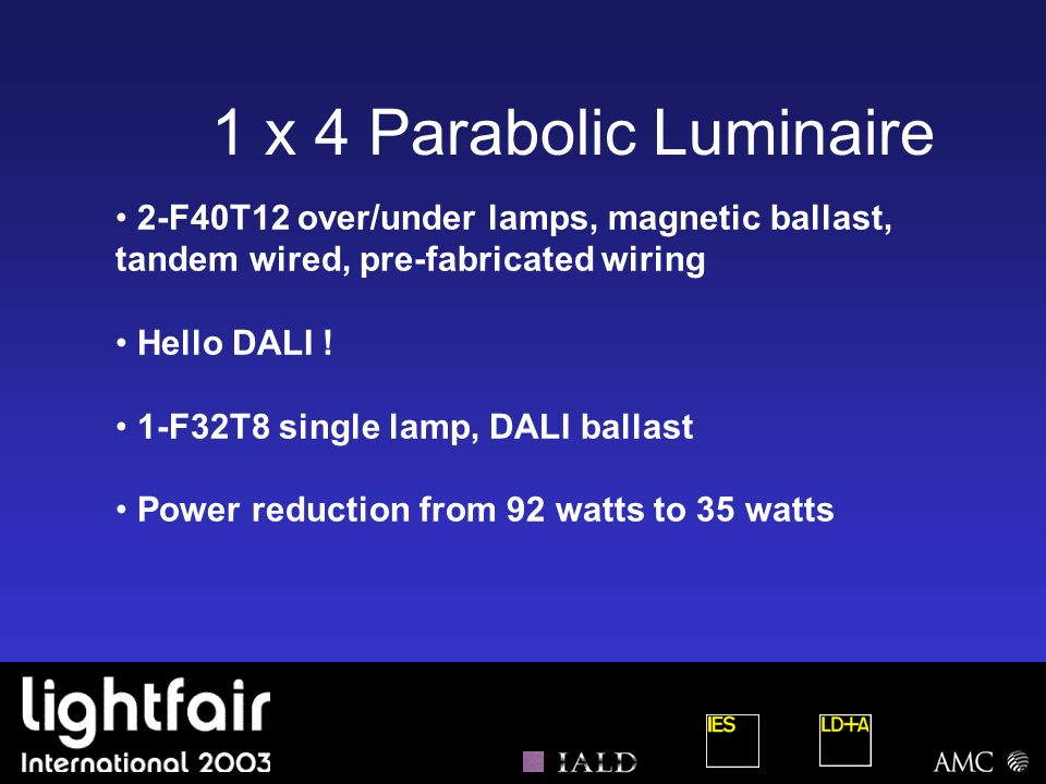 1 x 4 Parabolic Luminaire 2-F40T12 over/under lamps, magnetic ballast, tandem wired, pre-fabricated wiring.