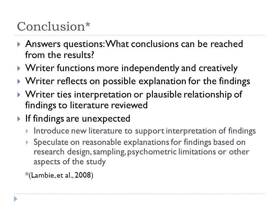 Conclusion* *(Lambie, et al., 2008)
