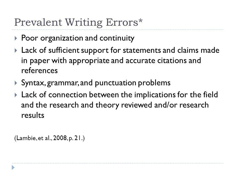 Prevalent Writing Errors*