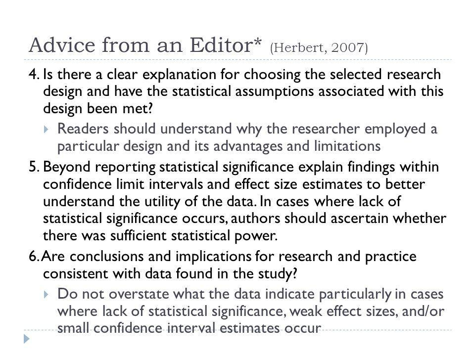 Advice from an Editor* (Herbert, 2007)