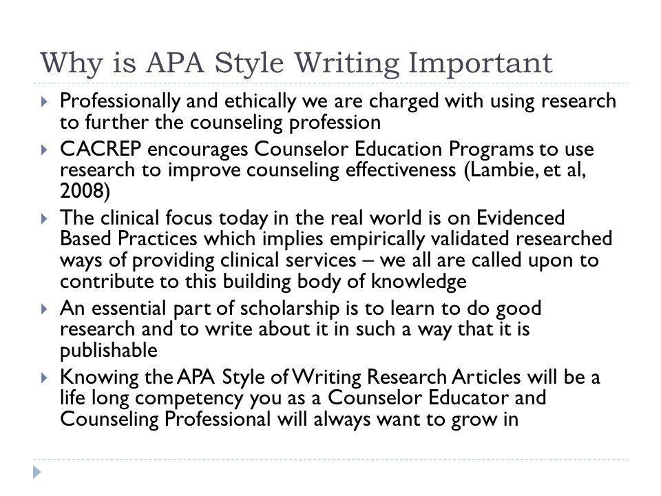 Why is APA Style Writing Important